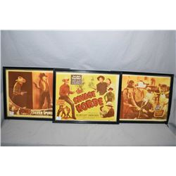 "Three framed vintage movie advertisements including ""The Savage Horde"", ""Silver Spurs"" and ""Under Ne"