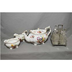 Hammersley 2941 tea pot, cream and sugar plus a silverplate cruet set