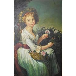 Large gilt framed acrylic on canvas painting of a young girl picking roses, signed by artist Y. Jame