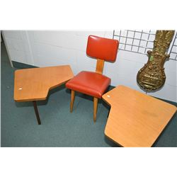 Three pieces of quality mid-century modern furniture including two side table and a chair