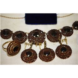 Ladies vintage Birks10kt yellow gold and garnet jewel suite including necklace set with one 3.75ct o
