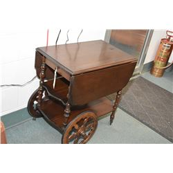 Vintage drop leaf walnut tea trolley with removable serving tray