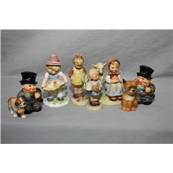 Selection of Goebel collectibles including vintage girl with watering jug marked with full bee, a pa
