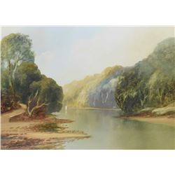 "Framed vintage watercolour painting of a quiet river signed by artist I. Shaplang, 10"" X 14"""