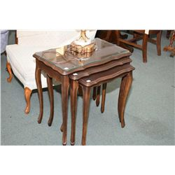 Set of three French Provincal nesting tables, the largest one has glass protector
