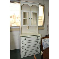 "Painted four drawer chest with interesting double door display/storage galley, 74"" in height"