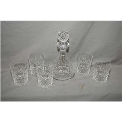 "Quality crystal decanter with stopper and five signed Waterford crystal ""Lismore"" tumblers"