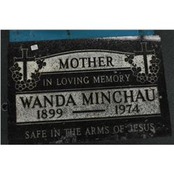 "Engraved granite headstone, 16"" high, 24"" wide and 2 1/2"" thick, perfect for authentic halloween dec"