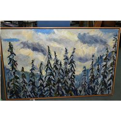 "Large framed oil on linen painting ""Winter Wonderland"" by Patty Ampleford, 36"" X 57"""