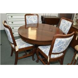 "Antique quarter cut oak 42"" round center pedestal dining table and four claw foot oak chairs with up"