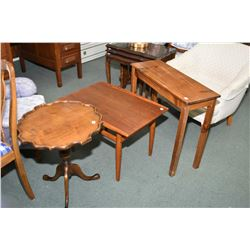 Mid century modern teak side table and a mid 20th century center pedestal tilt top occasional table