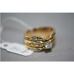 Ladies 14kt yellow gold engagement and wedding bands, set with 0.25ct center diamond and 0.35cts of