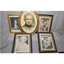 Three framed vintage photographic prints of Hollywood stars including Ginger Rogers, Mae West and Ir