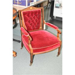 Sheraton open arm, button tufted parlour chair with satin inlaid banding, scrolling and medallions