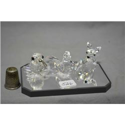 Selection of Swarovski crystal including a deer, a dove and seal with whiskers