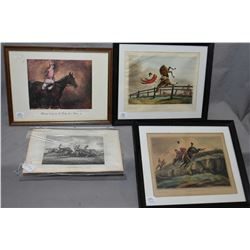 Four framed vintage coloured horse motif prints including etchings plus one black and white etching