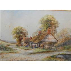 "Framed vintage watercolour of a cottage with chickens signed by artist Ernest T. Potter, 12"" X 16"""