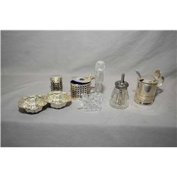 Selection of silver and silverplate condiment servers including British sterling silver mustard with