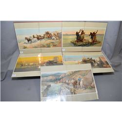 "Five vintage unframed Oscar Edmund Beminghaus ""Relief Train"", ""The Father of Waters"", ""Westward Ho!"""