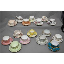 Selection of collectible tea cups and saucers including Aynsley, Coalport, Adderley, Elizabethan, Pa