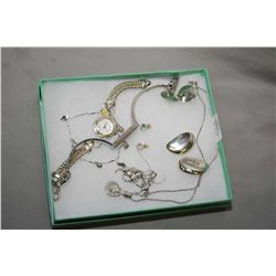Selection of sterling silver jewellery including earrings, bracelet and two collectible watches, one