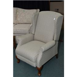 La-z-boy upholstered reclining wing back chair with cabriole feet