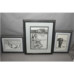 "Three framed prints by artist B.J. Brown including pencil signed limited edition print ""Catch of the"