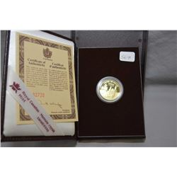 Royal Canadian mint 1995, $100 1/4 troy ounce fine gold coin made to commemorate the official findin