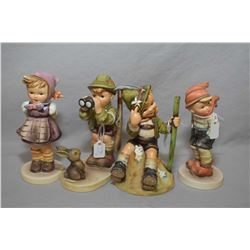 "Four assorted Hummel and Goebel figures including ""Good Hunting"", ""Mountaineer"" etc."