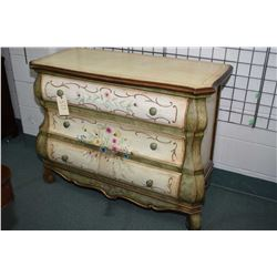 Bombe style three drawer painted chest