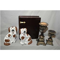 Selection of decor items including graduated candlesticks, a wooden book motif collectibles box and