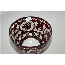 "Brand new Jewellery store inventory Bohemian crystal ruby etched to clear bowl, 8"" in diameter and r"