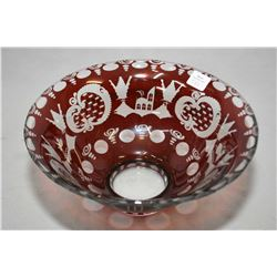 "Brand new Jewellery store inventory Bohemian crystal ruby etched to clear bowl, 9 1/2"" in diameter a"