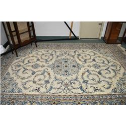 100% wool Iranian carpet with center medallion, wide multi border and overall scrolling Jacobean flo