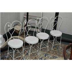 Four child sized wrought iron ice-cream parlour chairs