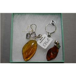 Selection of brand new sterling silver including large golden amber pendant, red cherry amber pendan