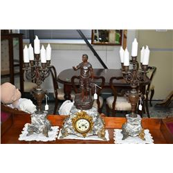 Three piece antique clock set including marble and figural spelter clock with attached ormalu decora