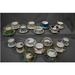 Seventeen china cups and saucers including Royal Albert, Aynsley, Royal Adderley, Paragon etc.