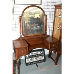 Mid 20th century mahogany step vanity with two drawers and bobbin turned supports