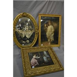 Gilt framed convex glass oval print of a young girls, plus a gilt framed parlour scene and a small g