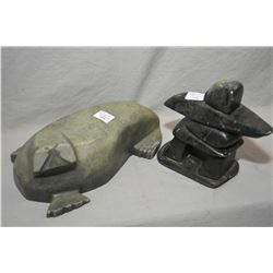 "Two soapstone carvings including an inukshuk, 6 1/2"" in height and a walrus signed by artist, 10"" in"