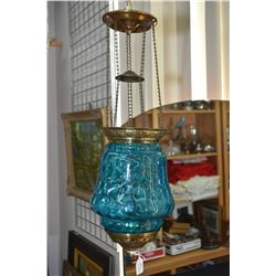 Selection of antique lighting including cast bridge lamp and two single globe hanging fixtures