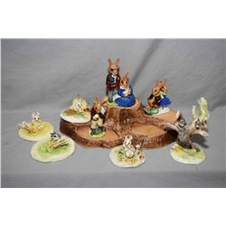 "Selection of Royal Doulton ""Bunnykins"" figurines including ""Cooling Off"" DB3, ""Family Photograph"" DB"