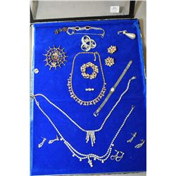 Tray lot of vintage costume jewellery including diamate necklace and earring sets, bracelets, plus a