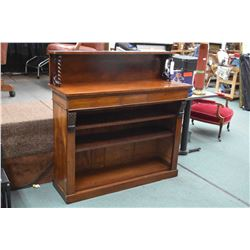 Victorian mahogany narrow sideboard with open shelves, two drawers and backboard supported by barley