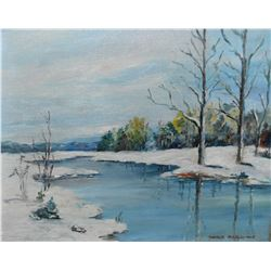 "Framed oil on board painting of a winter river scene signed Manly MacDonald and marked on verso ""Don"