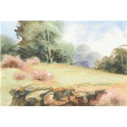 "Two framed watercolour paintings including ""Rape Field"" signed by artist Rosemary Rees '75, 14"" X 21"