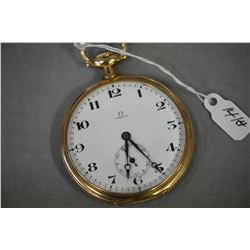 Antique 14kt yellow gold 17 jewel pocket watch, circa 1914 with Arabic numerals and sunken second ha