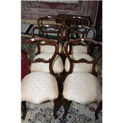 Six antique open back side chairs with upholstered seats