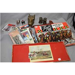 """Selection of horse related collectibles including """"Le Jockey Club, Paris"""" horse race viewing binocul"""